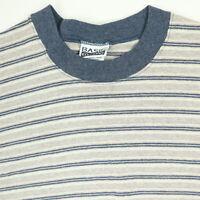 Vtg 90s Grunge Striped Basic Editions T-Shirt LARGE Surf Skate USA Single Stitch