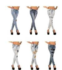 Markenlose Damen-Jeans mit geradem Bein aus Denim