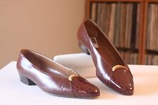 Bally Brown Leather Croc Cap Toe Gold Accent Pumps Size 8.5 M Made In Italy