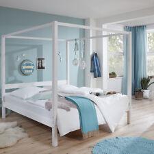 Himmelbett massiv in weiß lackiert 90x200cm Einzelbett Jugendbett Gästebett