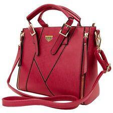 Red Faux Leather Fashion Handbag Crossbody Shoulder Bag Women Purse Large Tote