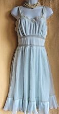 Vintage 60s Ice Blue Short Nightgown Size 32 S Pleated Bust & Hem Lace Straps