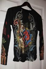 Christian Audigier winter waffle L/S rhinestone thermals made in USA. BLK MEDIUM
