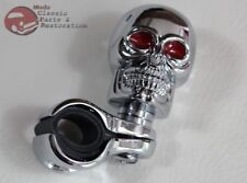 Custom Chrome Skull Suicide Spinner Steering Wheel Clamp On Brody Style Knob New