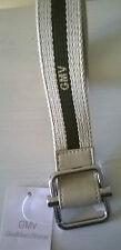 Cintura uomo GIANMARCO VENTURI in corda beige e verde. AUTOBLOCCANTE Mis.120cm
