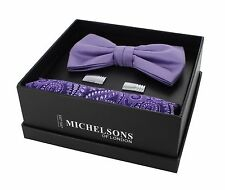 Lilac Bow Tie, Paisley Pocket Square & Cufflink Gift Set