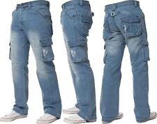 NEU Enzo Herren Cargo Hose Kampf Jeans Denim Heavy Duty Works Freizeithose