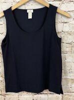 J Jill Tank Top womens XS navy blue sleeveless shirt side vents stretch M3