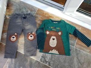 Jojo Maman Bebe Boys Bear Long Sleeved T-shirt Top & Joggers Age 4-5yrs