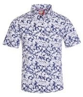 New Mens ID Extra Slim Fit Short Sleeve Button Up Blue Shirt White Tiki Floral