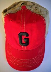 GEORGIA BULLDOGS ADULT SNAPBACK LOW-PROFILE CAP HAT W/ G & TAN TRUCKER MESHBACK