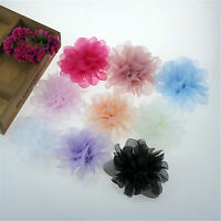 Chiffon Flower Blossom Applique Embellished For Corsage ,DIY Craft Project 5 Pc