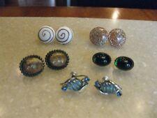 Lot 5 Screw Back Earrings Art Glass, Confetti Lucite, Natural Stone, CORO Molded