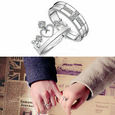 love Crystal Crown Silver Couple Rings Wedding Band His and Her Promise Rings