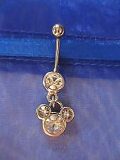 NEW Disney World Mickey Mouse 3 Clear Crystal Charm on Steel Belly Navel Bar