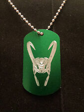 The Avengers Thor Loki's Helmet Dog Tag Necklace green aluminum handmade
