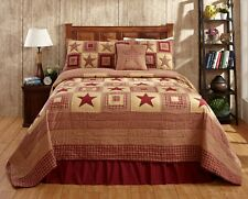3Pc Colonial Star Burgundy And Tan King Patchwork Quilt Set Bedding Package.