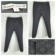 Nanette Lepore Black/Silver Cropped Textured Pants Size 2 Women Anthropology