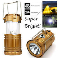 Solar USB Charging Rechargeable Camping Tent Lantern Light 6 LED Lamp Powered