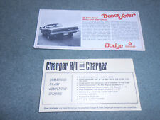 1968 DODGE CHARGER ORIGINAL MAILER / BROCHURE + 68 COMPARISONS FOLDER 2-4-1