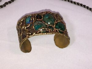 Vintage Hand Crafted Brass Luciano Mechoen Bracelet, Turquoise Gemstones, Mexico