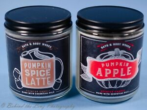 2 Bath Body Works Single Candle Jar Pumpkin Latte Apple