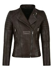 Ladies Leather Jacket Classic Biker Style Brown Genuine Tops LEATHER Jacket 9393