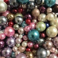 1kg glass Pearl Beads Mixed Colours 4-16mm Job Lot 27