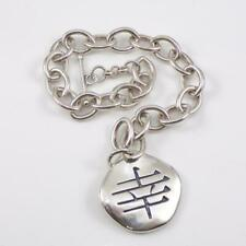 Carolyn Pollack Relios Sterling Silver Joy Charm Rolo Chain Link Bracelet 7 LFE3