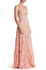 DRESS THE POPULATION 'MELINA' LACE MAXI FIT & FLARE ROSE PETAL DRESS sz XS