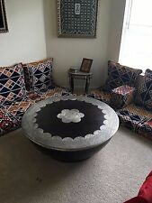 Vintage Handmade hardwood middle eastern table with metal decoration