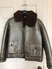 Polo Ralph Lauren RLX Mens Shearling Fur Leather Bomber Jacket Silver Medium