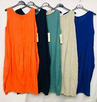 New Plain Italian Lagenlook Quirky Long Boho Cotton Pocket Linen Tunic Dress