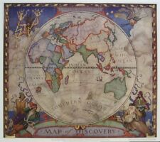 Original 1928 NC WYETH Eastern Hemisphere Discovery Map Explorers Routes Mural