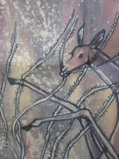 """BATIK WAX PAINTING CLOTH TAPESTRY STANDING DEER in FOREST ART 1987 Signed 28"""""""
