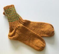 Hand-knitted socks, unisex UK size 5-6, brown, vegan friendly
