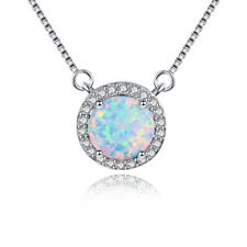 Gorgeous Natural Round Fire Opal White Topaz Gems Silver Necklace Pendant