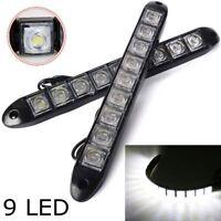 2x White DC 12V 9-LED Daytime Running Light DRL Car Fog Day Driving Lamp Light
