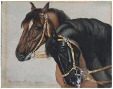 Les 2 chevaux dessin à la gouache signé B. Claussnitzer début XXème
