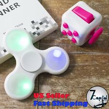 White LED Light Up Hand Tri Fidget Spinner And Magic Fidget Cube Autism ADHD
