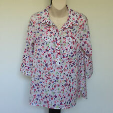 'IQ' EC SIZE '12' FLORAL PRINT TOP POCKETS 3/4 SLEEVE CONCEALED BUTTON FRONT TOP