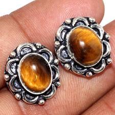 U30556 Tiger Eye 925 Sterling Silver Plated Stud Earrings 16.mm