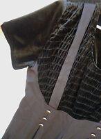 BLACK VELVET SIZE XL TALL DISCO SMOCKED SUSPENDER slinky WIDE LEG JUMPSUIT WOMEN