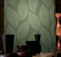 Wallpaper Green Gold Metallic Lines Textured Modern Rolls Large Tree Leaves 3D