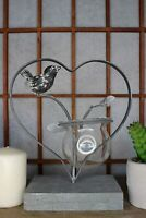 Heart Shaped Glass Planter Holder with Grey Bird - Hydroponic Modern Vase for Ho