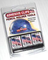 adhesive PENCIL CLIP HOLDERS 3 PACK BLACK tools carpenter construction craftsman