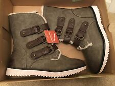 Sonoma memory foam MSRP $89.99 faux fur NEW millitary boots grey brown 8 b97