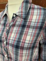 Ewm Pink Blue Silver Cotton Blend Checked Shirt Long Sleeve Collar 18 Blouse E1