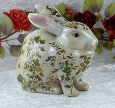 Porzellan Hase Craquele Skulptur Figur Osterhase Kaninchen Jugendstil Papagei