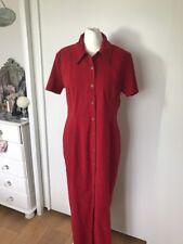 Ann Reeves Womens Red  Calf Length Shirt Dress Size 14